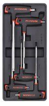 Gömbfejű imbuszkulcs készlet, 5 részes, L-markolattal, 390x175x50mm (FIXMAN FX-F1.BT12)