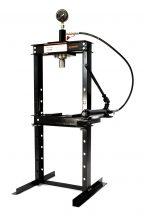 Hidraulikus műhelyprés kézi hajtású tápegységgel, nyomásmérő órával 12 Tonna