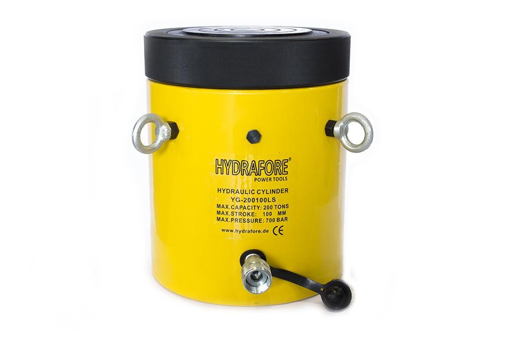 Egyszeres működésű biztosítóanyás hidraulikus munkahenger (200 T, 100 mm)