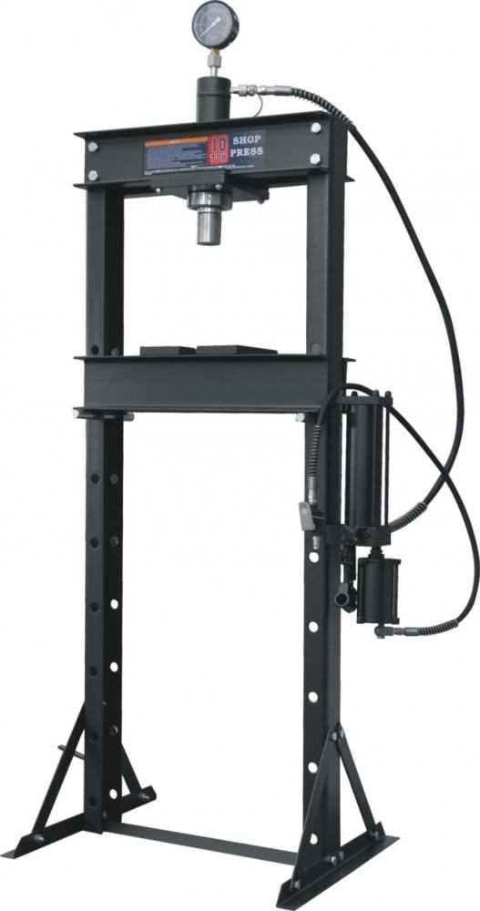 Hidraulikus műhelyprés sűrített levegőhajtású tápegységgel, nyomásmérő órával 10 Tonna
