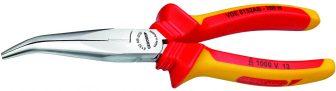 VDE félkerekcsőrű fogó, mártott szigeteléssel 200 mm (GEDORE VDE 8132 AB-200 H)