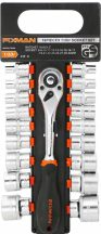 """Dugókulcs készlet 19 részes, 1/2""""+racsnis hajtókar, 8-32mm (FIXMAN FX-P4019M)"""