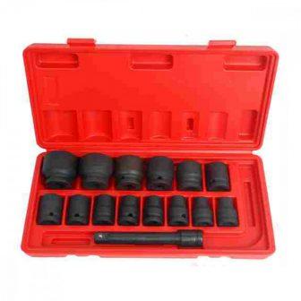 """1/2"""" 15db Gépi Dugókulcs készlet dobozban (9,10,11,12,13,15,16,17,19,21,22,24,27,32 & 5"""" toldószár) (JQ-12 -15set)"""